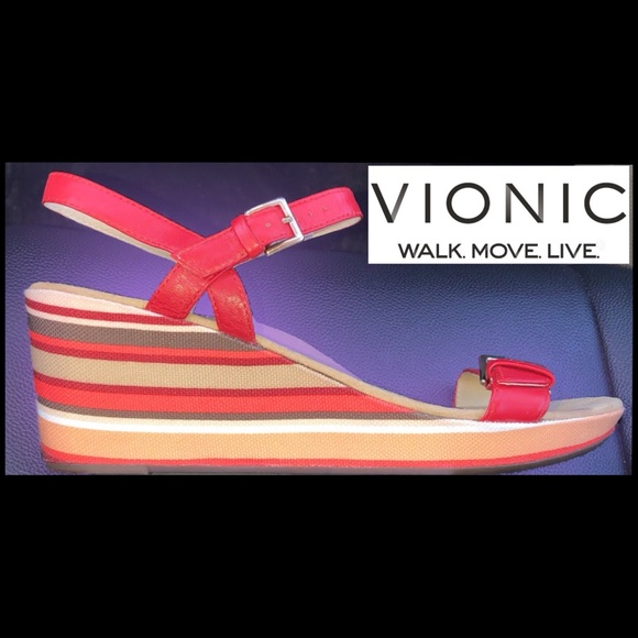 d59c0be6db624 Vionic Enisa Red Backstrap Orthotic Sandal